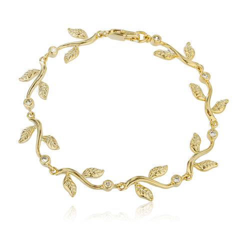 Two Year Warranty Gold Overlay Mini Leaves With Cubic Zirconia Stones 8 Inch Bracelet
