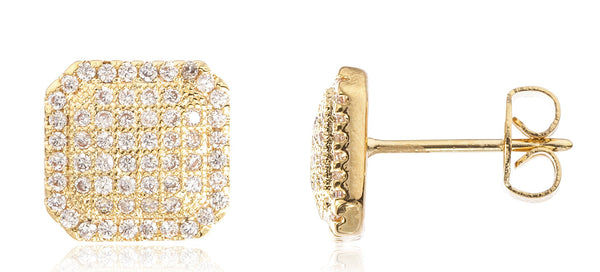 Two Year Warranty Gold Overlay Mini Square Stud Earrings With Cubic Zirconia Stones