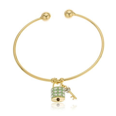 Two Year Warranty Gold Overlay Mint Green Mini Dangle Key And Lock Charm Bangle Bracelet With Stones