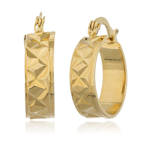 Two Year Warranty Gold Overlay Modern Design .75 Inch Huggie Hoop Earrings