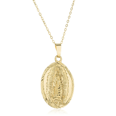 Two Year Warranty Gold Overlay Mother Mary Oval Pendant With An 18 Inch Link Necklace