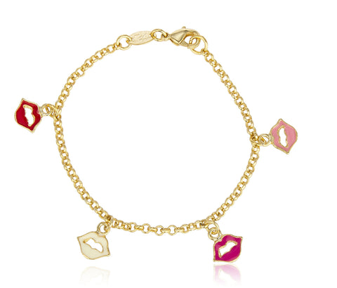 Two Year Warranty Gold Overlay Multi Color Lips 6 Inch Link Charm Bracelet