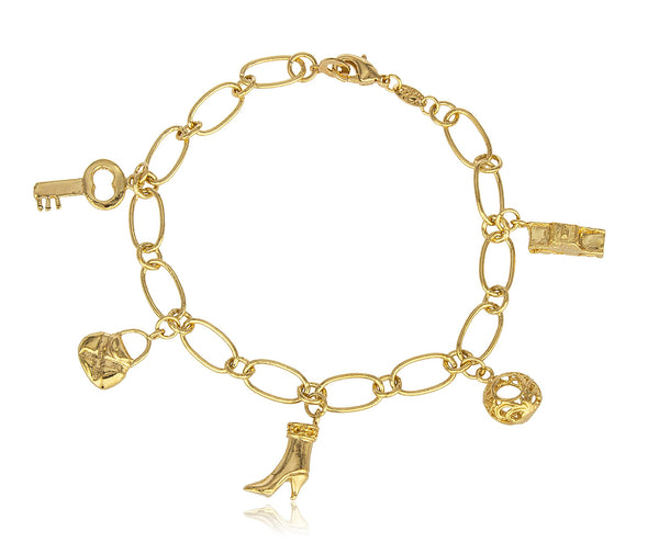 Two Year Warranty Gold Overlay Multi Dangling Charms With A 8.5 Inches Link Bracelet