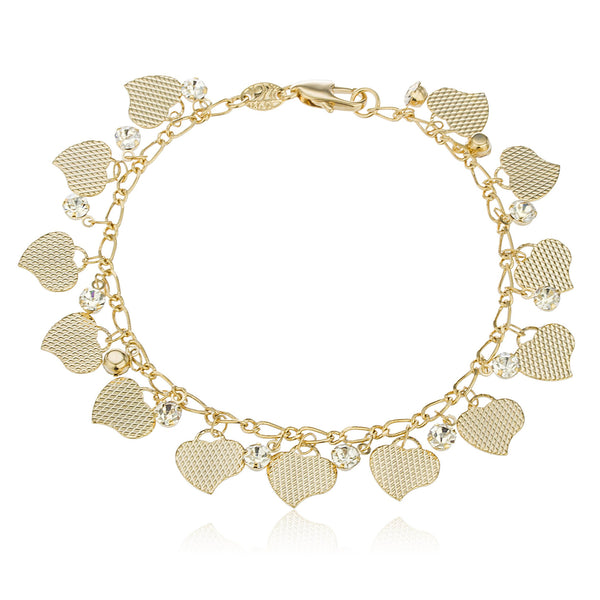 Two Year Warranty Gold Overlay Multi Heart Charms With Clear Dangling Stones And 7.5 Inches Link Bracelet