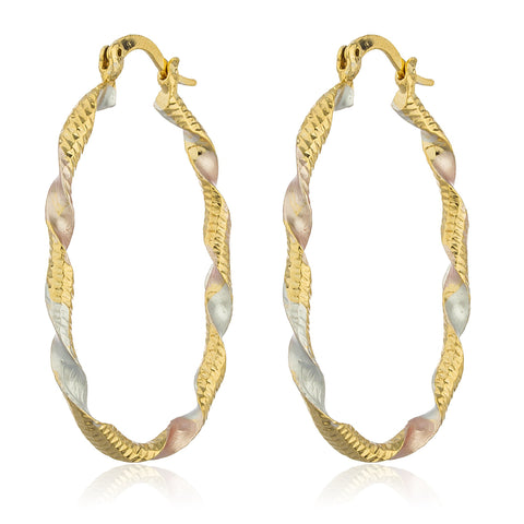 Two Year Warranty Gold Overlay Multicolored And Twisted Oval 1.5 Inch Dangle Earrings
