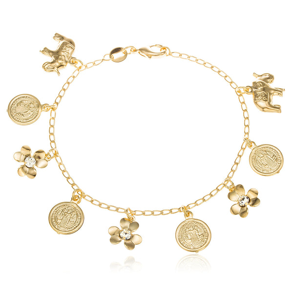Two Year Warranty Gold Overlay Multiple Charmed 7.5 Inch Link Bracelet With Stones