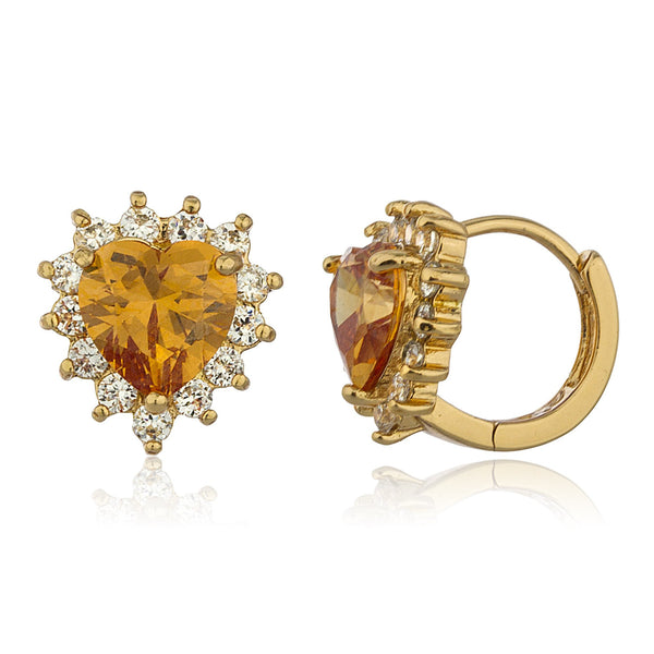 Two Year Warranty Gold Overlay Orange Sunflower Heart Design .5 Inch Huggie Hoop Earrings With Cubic Zirconia