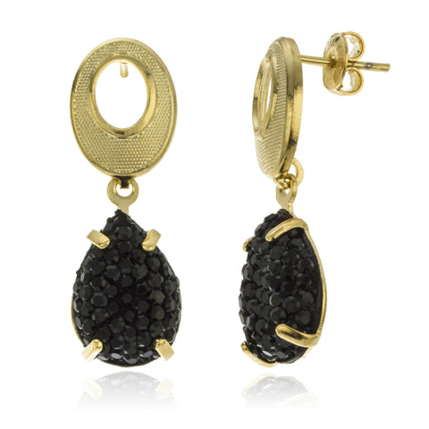 Two Year Warranty Gold Overlay Oval Shaped Studs With Black Rhinestones Teardrop Dangle Earrings