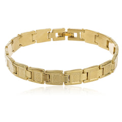 Two Year Warranty Gold Overlay Pane Design 8 Inch Semi Frosted Link Bracelet