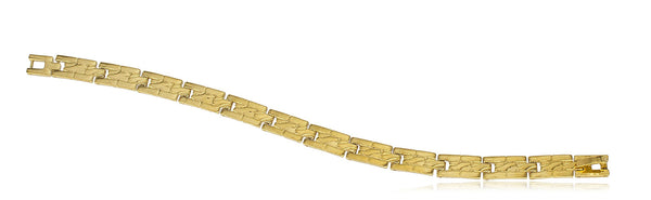 Two Year Warranty Gold Overlay Rectangle Link 7.5 Inch Bracelet