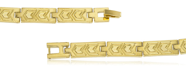 Two Year Warranty Gold Overlay Rectangle Link With Double Arrow Printed 8 Inch Bracelet