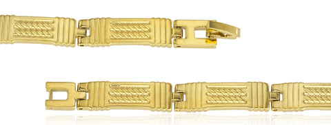 Two Year Warranty Gold Overlay Rectangle Link With Rope Design 8 Inch Bracelet