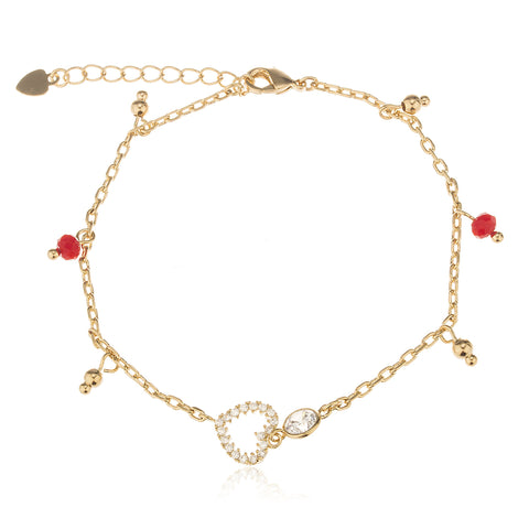 Two Year Warranty Gold Overlay Red Disco Ball And Heart Adjustable 7 Inch Cz Stones Charm Tennis Bracelet With Lobster Claw Clasp