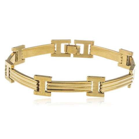 Two Year Warranty Gold Overlay Ribbed 8 Inch Mens Bracelet