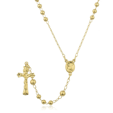 Two Year Warranty Gold Overlay Rosary Cross Pendant And Angel Coin Charm With An 28 Inch Necklace