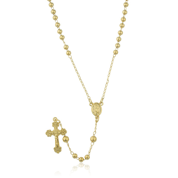 Two Year Warranty Gold Overlay Rosary Cross Pendant And El Nino Coin Charm With A 24 Inch Necklace