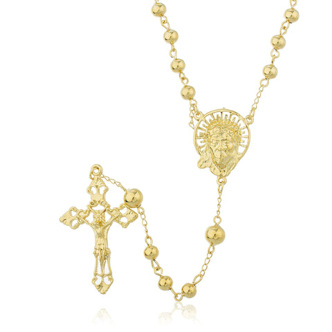 Two Year Warranty Gold Overlay Rosary Cross Pendant And Jesus Head Charm With A 30 Inch Necklace