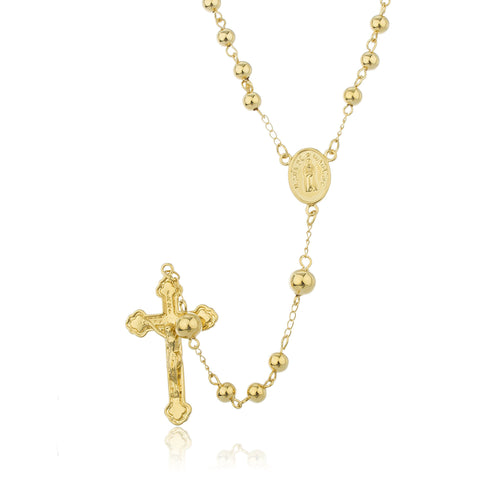 Two Year Warranty Gold Overlay Rosary Cross Pendant And Mary Charm With A 30 Inch Necklace