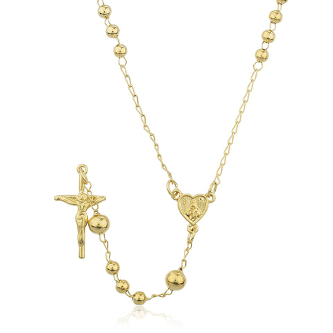 Two Year Warranty Gold Overlay Rosary Cross Pendant And Mary Heart Coin Charm With An 28 Inch Necklace