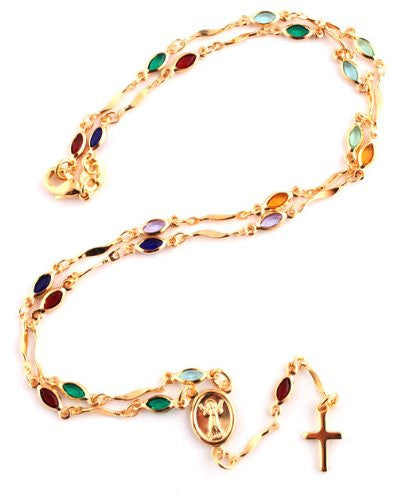 Two Year Warranty Gold Overlay Rosary Cross Pendant And Open Arms Charm With Multicolored Stones 18 Inch Necklace