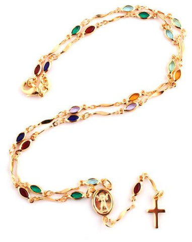 GOLD OVERLAY ROSARY CROSS PENDANT AND OPEN ARMS CHARM WITH MULTICOLORED STONES