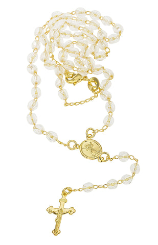 Two Year Warranty Gold Overlay Rosary Cross Pendant With Simulated Pearls And Jesus Face Charm And An 18 Inch Necklace