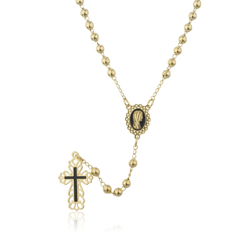Two Year Warranty Gold Overlay Rosary With Black Outline Cross Pendant And Virgin Mary Charm With An 18.5 Inch Necklace