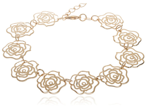 Two Year Warranty Gold Overlay Rose Petal Charm Design Adjustable 7.5 Inch Bracelet