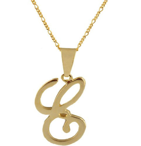 Two Year Warranty Gold Overlay Script Letter E Pendant With An 18 Inch Necklace
