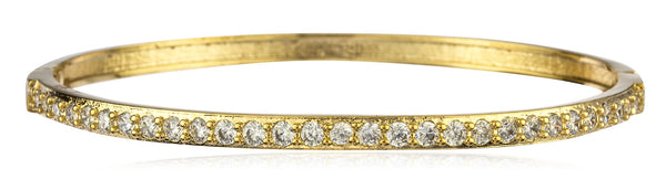 Two Year Warranty Gold Overlay Snap Bangle With Clear Stones