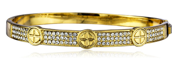Two Year Warranty Gold Overlay Snap Bangle With Clear Stones And Crosses
