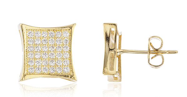 Two Year Warranty Gold Overlay Square Cushion Stud Earrings With Cubic Zirconia Stones