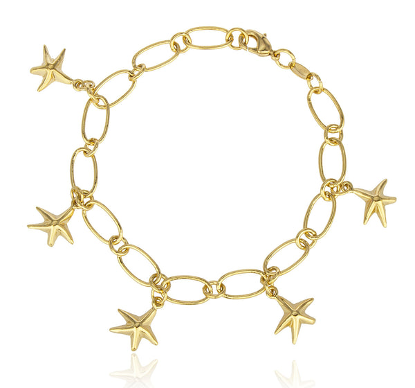 Two Year Warranty Gold Overlay Starfish Charms 8.5 Inch Cable Bracelet