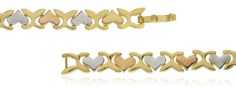 Two Year Warranty Gold Overlay Tri Tone Heart Link 8 Inch Bracelet