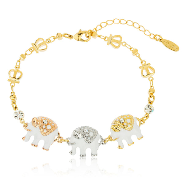 Two Year Warranty Gold Overlay Tri Tone With White Elephant Charms Adjustable 7 Inch Ring Link Bracelet With Stones