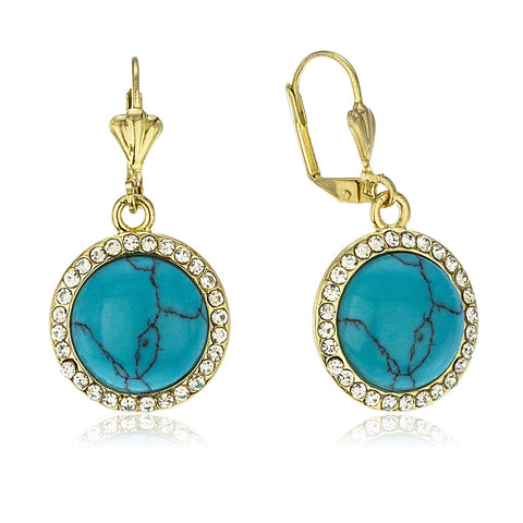 Two Year Warranty Gold Overlay Turquoise Leverback Earrings With Stones