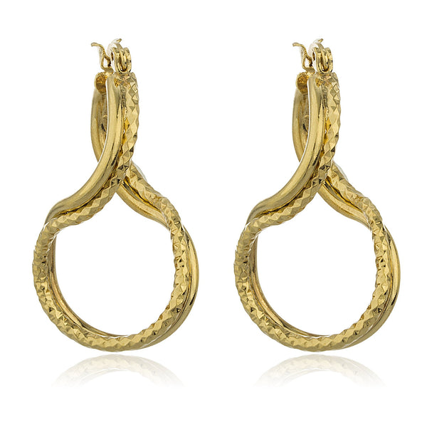 Two Year Warranty Gold Overlay Twisted Dangle Hoop Earrings
