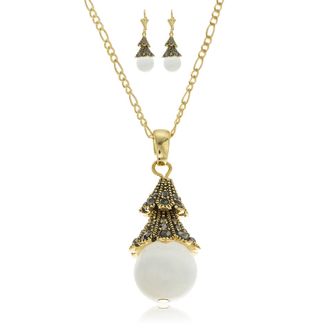 Two Year Warranty Gold Overlay White Cat Eye Ball Elegant Fancy Pendant Necklace With Matching Lever Back Earrings