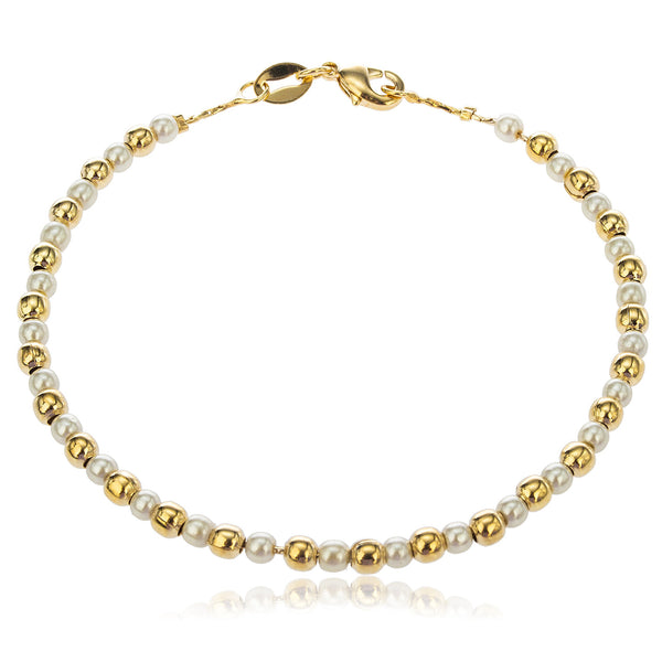 Two Year Warranty Gold Overlay With Alternating Ivory Pears And Beaded Balls 7.5 Inch Bracelet
