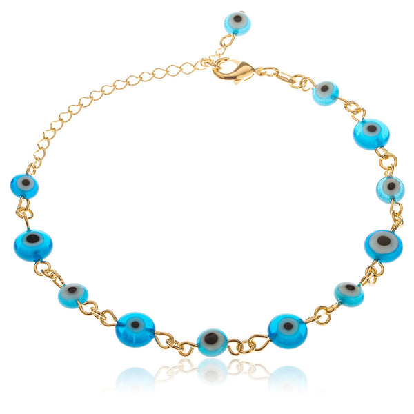 Two Year Warranty Gold Overlay With Alternating Shades Of Blue Evil Eye Style 10 Inch Anklet With Dangling Charm