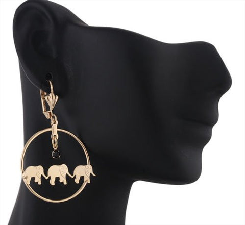 Two Year Warranty Gold Overlay With Black Stone Elephant Trio Style 1.25 Inch Drop Earrings