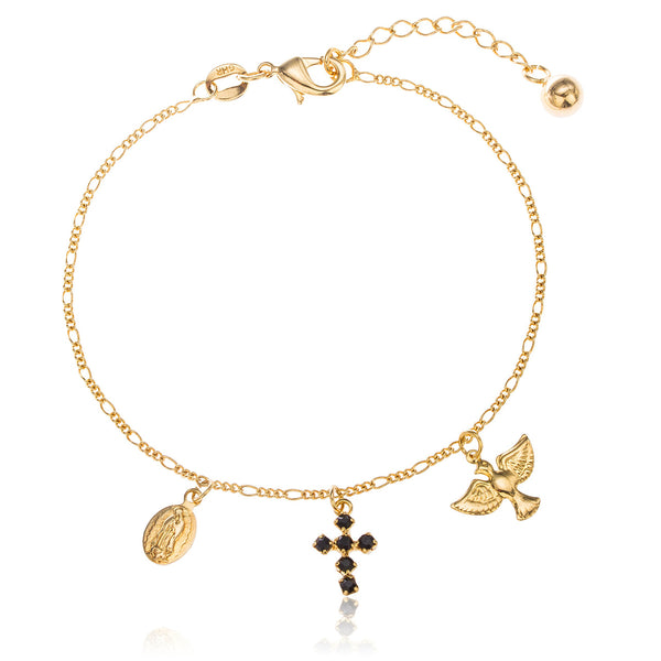 Two Year Warranty Gold Overlay With Black Stones Dangling Virgin Mary, Cross And Dove Adjustable 8 Inch Bracelet