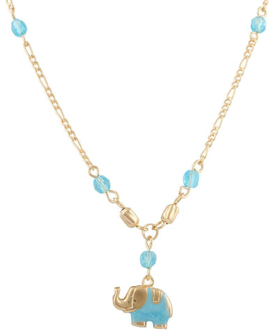 Two Year Warranty Gold Overlay With Blue Elephant Pendant With An 18 Inch Figaro Necklace
