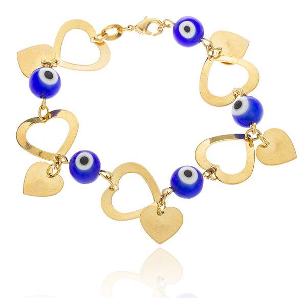 Two Year Warranty Gold Overlay With Blue Eye And Double Heart Charmed 7 Inch Cable Link Bracelet