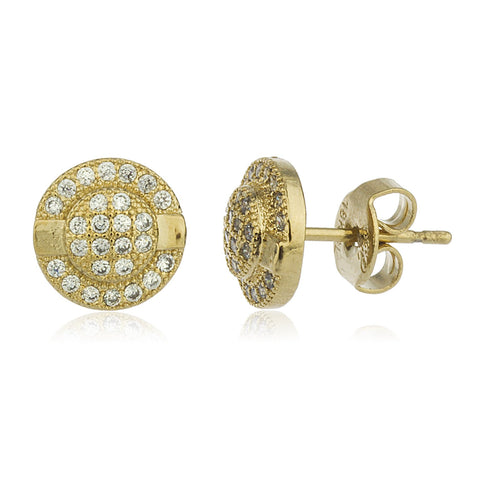 Two Year Warranty Gold Overlay With Clear Cubic Zirconia Round Stud Earrings With Stones