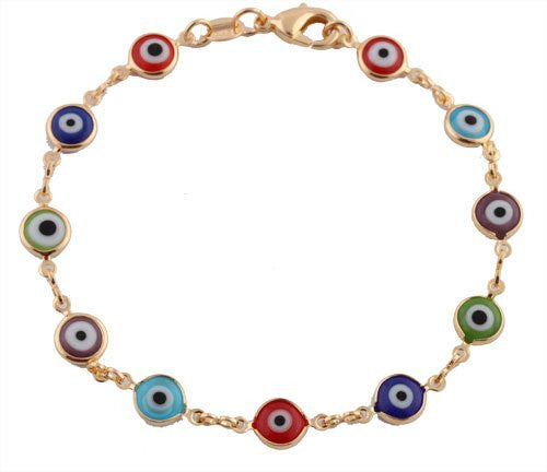 Two Year Warranty Gold Overlay With Colorful Mini Evil Eye Style 7.5 Inch Clasp Bracelet