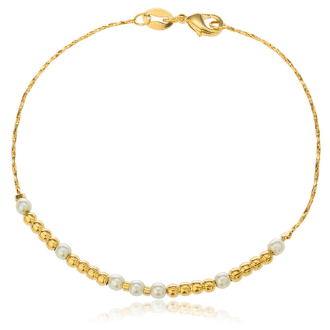 Two Year Warranty Gold Overlay With Ivory Simulated Pearls And Beaded Balls 7.5 Inch Tube Link Bracelet