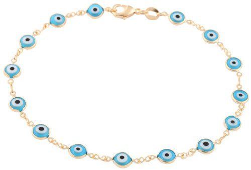 Gold Overlay With Light Blue Mini Evil Eye Anklet