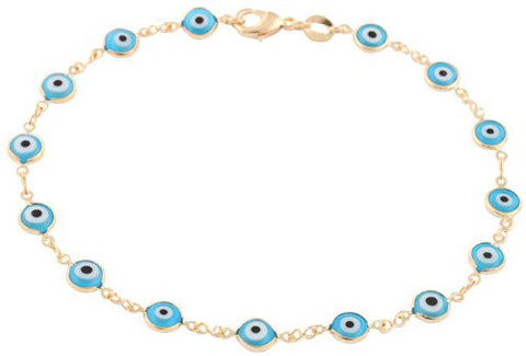 Two Year Warranty Gold Overlay With Light Blue Mini Evil Eye Style 10 Inch Anklet