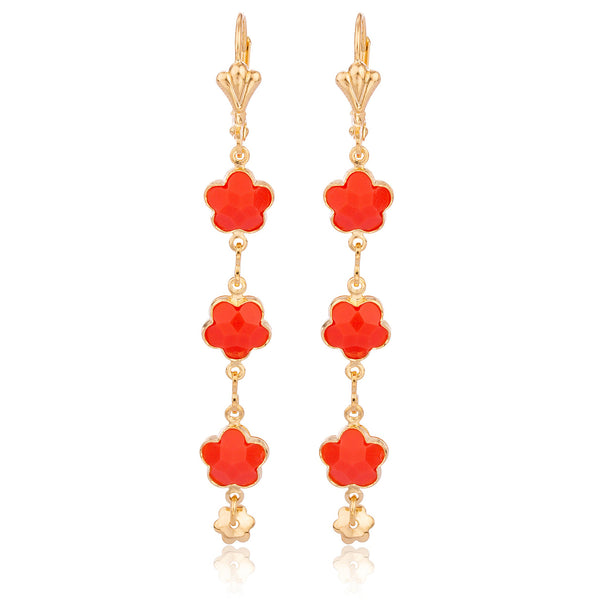 Two Year Warranty Gold Overlay With Lipstick Red Dangling Flower Link Earrings